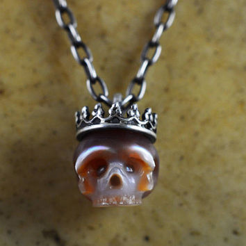 READY TO SHIP - Hand Carved Pearl Skull Necklace Wearing Sterling Silver Crown - PInk Pearl Hand Carved - Pearl Necklace - Skull Jewelry