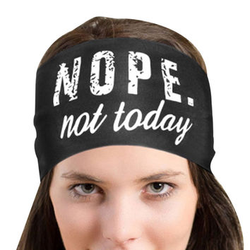 2017 Summer Nope Not Today Letter Printing Women Headband Sporting Sweatband Stretch Hair Band women hair accessories Unisex