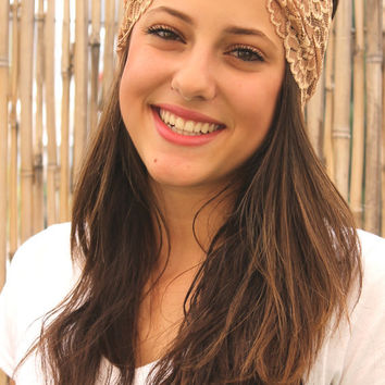 Light Brown Headband, wide headband,  Women Hair Accessories, Boho chic, Elastic Headband,  Headbands, Turban Head Wrap