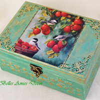 Tea box, jewelry box birds and apples, housewarming gift, gift for mother, shabby chic kitchen decor, green jewellery box, gift for women