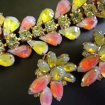 KRAMER NY Bracelet-Earrings Set, Peach Yellow Givre, Opalescent, Tear Drop, Vintage