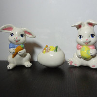 Vintage Ceramic Easter Figurines - 2 Bunnies and an Easter Egg