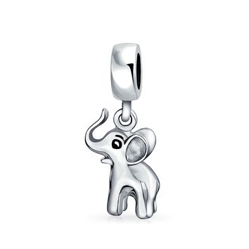 Good Luck Elephant Trunk Up Dangle Bead Charm 925 Sterling Silver