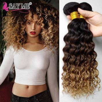 Deep Wave Bundles Ombre Brazilian Human Hair Weave Bundles 1B/4/27 Remy Honey Blonde Hair Extensions Can Buy 1 / 3 / 4 Bundles