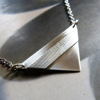 Geometric silver pendant, textured minimalist necklace, triangle, OOAK