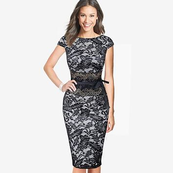 Vfemage Womens Elegant Vintage Lace Tunic Cap Sleeve Charming Casual Work Office Party Pencil Sheath Bodycon Vestidos Dress 2118