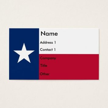 Business Card with Flag of Texas U.S.A.
