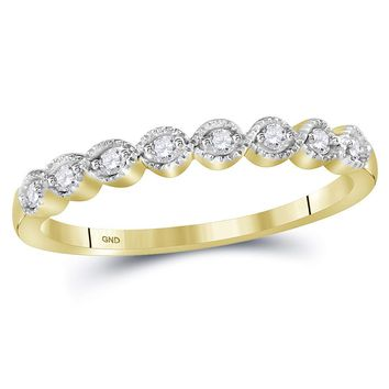 10kt Yellow Gold Women's Round Diamond Stackable Band Ring 1/10 Cttw