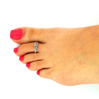 Vintage look sterling silver toe ring flower  toe ring adjustable toe ring
