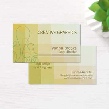 Modern Lemon Yellow Green Creative Business Card