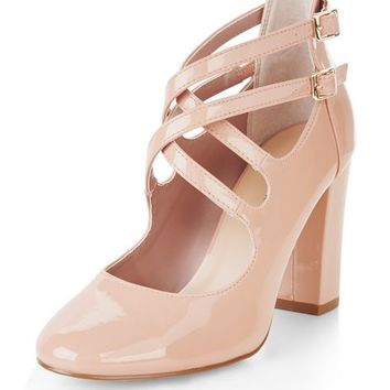 Pink Patent Multi Strap Court Shoes