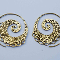 Spiral Brass Earrings, Tribal Earrings, Gold Earrings, Gypsy Earrings, Bohemian Earrings, Ethnic Earrings, Indian Earrings