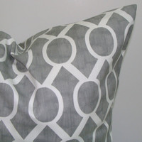 Gray.Pillow.12x16 or 12x18 inch.Decorator Pillow Covers.Printed Fabric Front and Back.Gray and Yellow.Housewares.Home Decor.Cushions.cm
