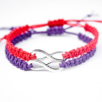 Purple and Red Infinity Bracelet