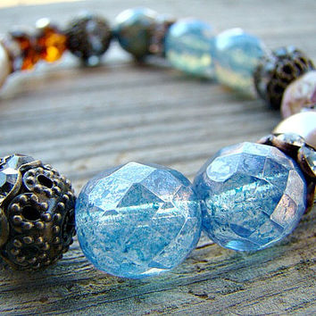 Beaded Stretch Bracelet, Chunky Bracelet, Stackable Bracelet, Bohemian Jewelry, Boho Style Bracelet, Bohemian Beaded Bracelet, Stretchy