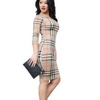 Elegant Autumn Qmilch Plaid Slim Simple Bodycon Dress