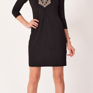 Beaded Jersey Shift Dress
