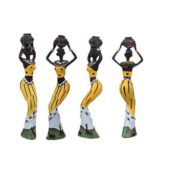 3 Piece African Woman Resin Figurines