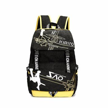 Anime Backpack School Men Women Boys Girls Japan kawaii cute Kirito SAO Sword Art Online Canvas Backpack Rucksack School Book Laptop Bag Mochila AT_60_4