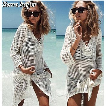 Saida De Praia Summer Beach Wear Dress Tunic Pareos For Women 2018 Skirt Knitting Hollow Bandage Longa Kaftan Beach Cover Up