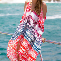 Multi-Color Printed Chiffon Cover-Up