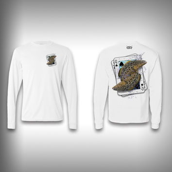 Queen of Spades Grouper - Poker - Solar Performance Long Sleeve Shirts - Fishing Shirt