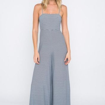 Striped Jumpsuit With Open-Cross Back