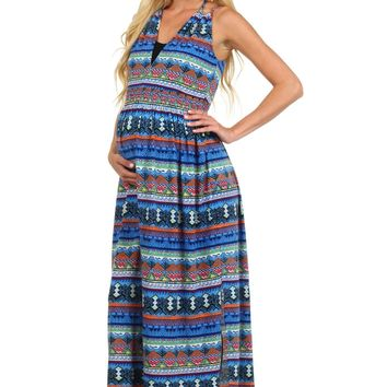 Aztec Geometric Maternity Maxi Dress