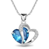 M-TARA 1PC 925 Sterling Silver  Plated Blue Crystal Gemstone Amethyst Heart Pendant Necklace Gift = 1933128772
