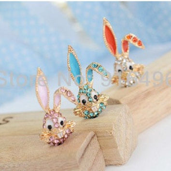 Lovely Bling Rabbit style cell phone charm for most cell phone 3.5 jack  IPhone s