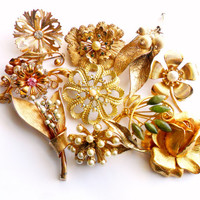 Flower Brooch Lot Vintage Instant Collection Signed Marked Rhinestone Sarah Coventry AK Faux Pearl Jade Leaf Floral Gold Tone Bridal