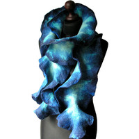 Felted Scarf Felted Collar Felted BlueFelt navy blue turquoise mint spring boho OOAK