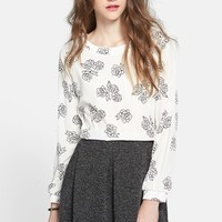 Lush Button Back Woven Top (Juniors) | Nordstrom