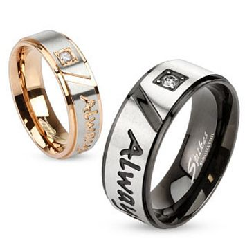 Always Together Engraved Two Tone Stainless Steel Ring with Single CZ