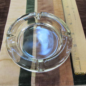 "Heavy Solid Glass Round Ashtray Bar Man Cave Decor Clear 4 1/2"" Barware 4 Slots Tobacco"
