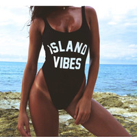 ISLAND VIBES Funny Letter Women One Piece Swimsuit Sportwear Swimwear California Bodysuit Beachwear Maillot De Bain Swim Suit