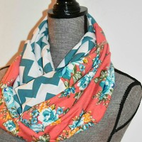 Romantic Coral Floral Scarf with Chevron Print Valentine's Day Gift