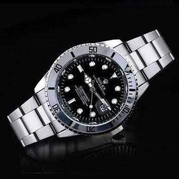 GJ1A Rolex tide brand fashion men and women fashion watches F-SBHY-WSL Silver + Black Dial