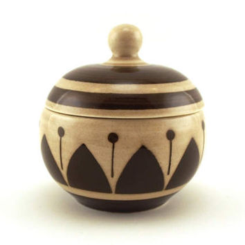 Sugar pot, sugar bowl, trinket bowl, Boch, BOCH La Louvière Belguim. 1950's ceramic, geometric detail, chocolate brown Retro homeware.