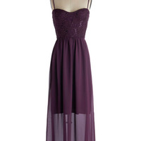 ModCloth Long Spaghetti Straps Maxi Aubergine the Moon Dress