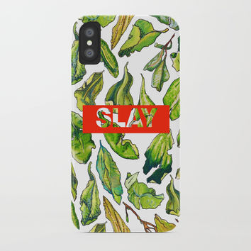 slay tea slay! // watercolor tea leaf pattern with millennial slang iPhone Case by Camila Quintana S