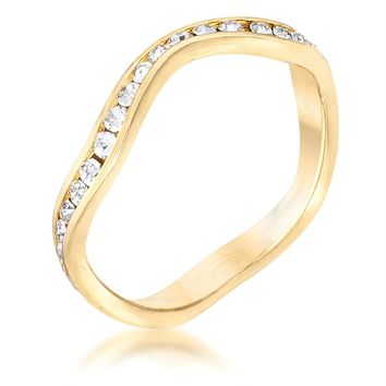 18k Gold Plated Petite Wavy Channel Set Crystal Stackable Ring, Size 5