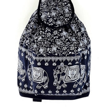 Women bag Elephant Cotton Bag Hippie bag Hobo bag Boho bag Backpack Tote bag diaper bag Travel Bag Purse School bag Everyday bag Navy Blue