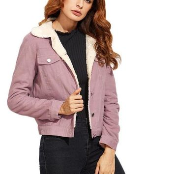 SheIn Women Coats and Jackets Fall Womens Outwear Purple Single Breasted Contrast Faux Shearling Lining Color Block Jacket