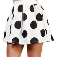 White/Black Polka Dot Skater Skirt