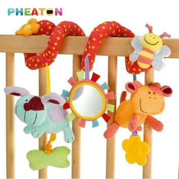 Spiral Activity Stroller Car Seat Baby Rattles Hanging Babyplay Travel Baby Toys Plush Animal Teether Cute Musical Kids Toy