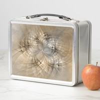 Earth Tones Abstract Modern Fractal Art Texture Metal Lunch Box