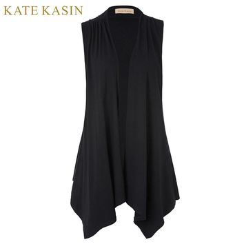 Kate Kasin Open Stitch Waterfall Asymmetric Hem Drape Cardigan