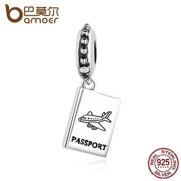 BAMOER 925 Sterling Silver PASSPORT Airplane Charm Fit Bracelet Travel Beads & Jewelry Making PAS085