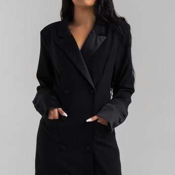 AKIRA Black Label Long Ruched Sleeve Oversized Double Breasted Blazer Dress in Black